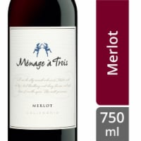Menage a Trois Merlot Red Wine 750mL Wine Bottle - 750 mL