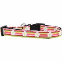 Mirage Pet 125-074 MDN Striped Daisy Nylon Ribbon Dog Collar - Medium Narrow - 1