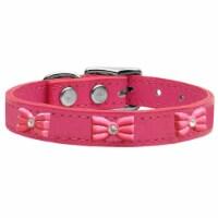 Mirage Pet 83-63 Pk22 Pink Glitter Bow Widget Genuine Leather Dog Collar, Pink - Size 22 - 1