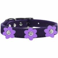 Mirage Pet 83-110 PR-LV18 Leather Collar, Purple with Lavender Flowers - Size 18 - 1