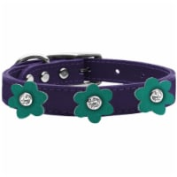 Mirage Pet 83-110 PR-JD24 Leather Collar, Purple with Jade Flowers - Size 24 - 1