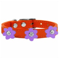 Mirage Pet 83-110 OR-LV14 Leather Collar, Orange with Lavender Flowers - Size 14 - 1