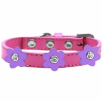 Flower Premium Collar Bright Pink With Lavender flowers Size 16 - 1