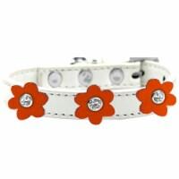 Flower Premium Collar White With Orange flowers Size 16 - 1