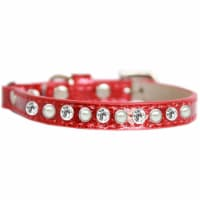 Mirage Pet 625-10 RD14 Pearl & Clear Jewel Ice Cream Cat Safety Collar, Red - Size 14