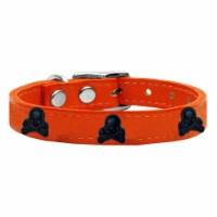 Mirage Pet 83-116 Or12 Skull Widget Genuine Leather Dog Collar, Orange - Size 12 - 1