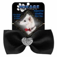 Mirage Pet 47-53 BK Crystal Heart Widget Pet Bowtie, Black