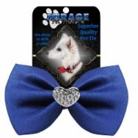 Mirage Pet 47-53 BL Crystal Heart Widget Pet Bowtie, Blue