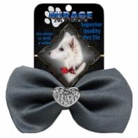 Mirage Pet 47-53 GY Crystal Heart Widget Pet Bowtie, Grey