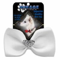 Mirage Pet 47-53 WT Crystal Heart Widget Pet Bowtie, White