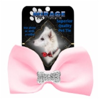 Mirage Pet 47-54 LPk Crystal Bone Widget Pet Bowtie, Light Pink