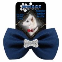 Mirage Pet 47-54 NV Crystal Bone Widget Pet Bowtie, Navy Blue