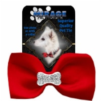 Mirage Pet 47-54 RD Crystal Bone Widget Pet Bowtie, Red