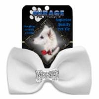 Mirage Pet 47-54 WT Crystal Bone Widget Pet Bowtie, White