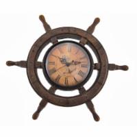 11.5 Inch Master of Destiny Ship Wheel Wall Clock Nautical Decor Coastal Beach Home Accent - Small