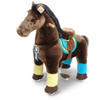PonyCycle K45 Horse with Long Mane Horn, Chocolate Brown