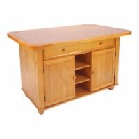 Sunset Trading Oak Selections Transitional Wood Kitchen Island in Oak/Beige - 1