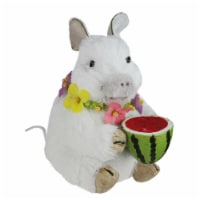 Northlight 32728971 6.75 in. White Sisal Piglet with Floral Lei & Watermelon Spring Figure