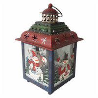 Northlight 33912034 11 in. Snowman Christmas Candle Lantern - Green, Red & Blue