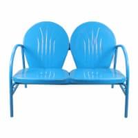 Northlight 34219560 47 in. Outdoor Retro Tulip Loveseat, Turquoise Blue