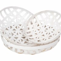 Northlight 34219229 Lattice Tobacco Table Top Baskets, Snow White - Set of 3