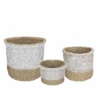 Northlight 34219235 Wicker Table & Floor Baskets, Beige & White Set of 3 - 1