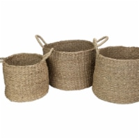 Northlight 34219236 Round Seagrass Table & Floor Baskets, Natural Beige - Set of 3