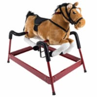 Spring Rocking Horse Plush Ride on Toy with Adjustable Foot Stirrups and Sounds for Toddlers - 1 unit