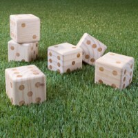 Giant Wooden Yard Dice Outdoor Lawn Game, 6 Playing Dice with Carrying Case for Kids and - 1 unit