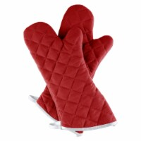 Oven Mitt One Pair Oversized Flame Heat Protection Big Mittens Pot Holders Burgundy - 1 unit