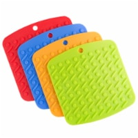 Set of 4 Pot Holders Jar Openers Garlic Peelers Spoon Rests Colorful Silicone - 1 unit