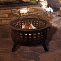 Pure Garden 50-FP189 26 in. Round Wood Burning Metal Fire Pit Set