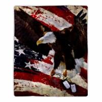 Fluffy Plush Throw Blanket 50 x 60 Inch - American Flag Bald Eagle Print, Lightweight