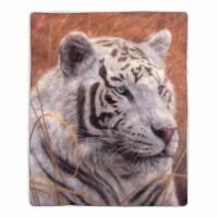 Fluffy Plush Throw Blanket 50 x 60 Inch - White Tiger Print Lightweight Hypoallergenic Bed or