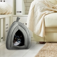 Gray Cat Pet Igloo Cave Enclosed Covered Tent House Removable Cushion Bed
