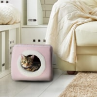 Pink Cat Cave Hide Out Cube Bed 13 x 12 Removable Pillow Makes Cat Feel Safe Cubby