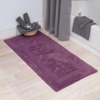 Lavish Home 100% Cotton Plush Bathroom Reversible Long Bath Mat 24 x 60 Inch Eggplant Purple - 1 unit
