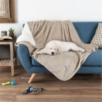 Petmaker 80-PET6076 Waterproof Pet Blanket with Soft Plush Throw Protects Couch & Chair, Tan - 1