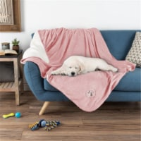 Petmaker 80-PET6107 Waterproof Pet Blanket with Soft Plush Throw Protects Couch & Chair, Pink