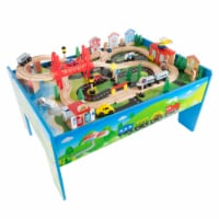 Kids Toys Play 75 Pc Train Set Wooden Table 32 x 23 x 15 Road and Water Scene Toddlers Boys - 1 unit