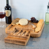 Bamboo Cheese Serving Tray with 4 Piece Stainless Steel Cutlery Set and Storage Drawer - 1 unit
