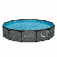 """Summer Waves 12' x 33"""" Outdoor Round Frame Above Ground Swimming Pool with Pump - 1 Unit"""