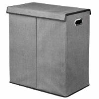 mDesign Divided Laundry Hamper Basket with Lid, Chrome Handles - Charcoal/Black - 1
