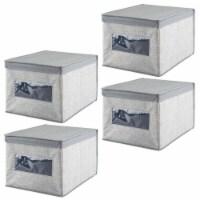 mDesign Soft Fabric Closet Storage Organizer Box, Large, 4 Pack - 4