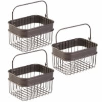 mDesign Bathroom Storage Basket Bin with Handle, Small, 3 Pack - Bronze - 3