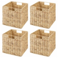 mDesign Woven Hyacinth Home Storage Basket for Cube Furniture, 4 Pack, Natural - 4