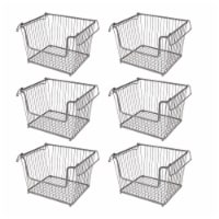 mDesign Stackable Storage Basket with Handles, 6 Pack - 6