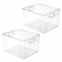 """mDesign Plastic Kitchen Food Storage Organizer Bin, 10"""" Wide, 2 Pack - Clear"""