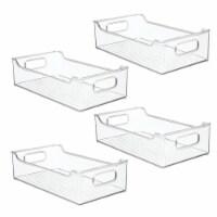 mDesign Stacking Plastic Storage Organizer Bin for Kids Supplies, 4 Pack - Clear - 4