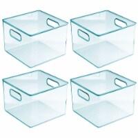 mDesign Plastic Storage Organizer Bin for Kids Supplies, 8  W, 4 Pack - Sea Blue - 4